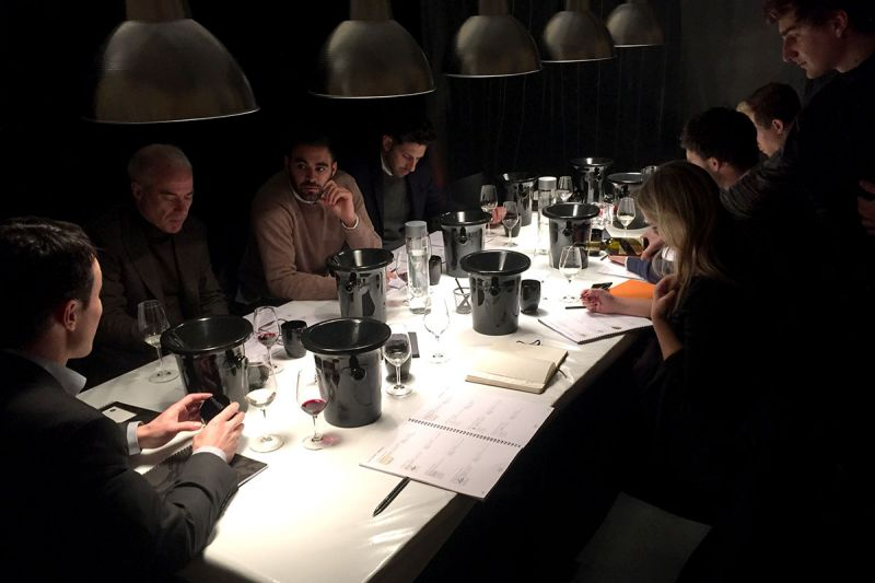 The team tasting and rating en primeur wines at Bordeaux
