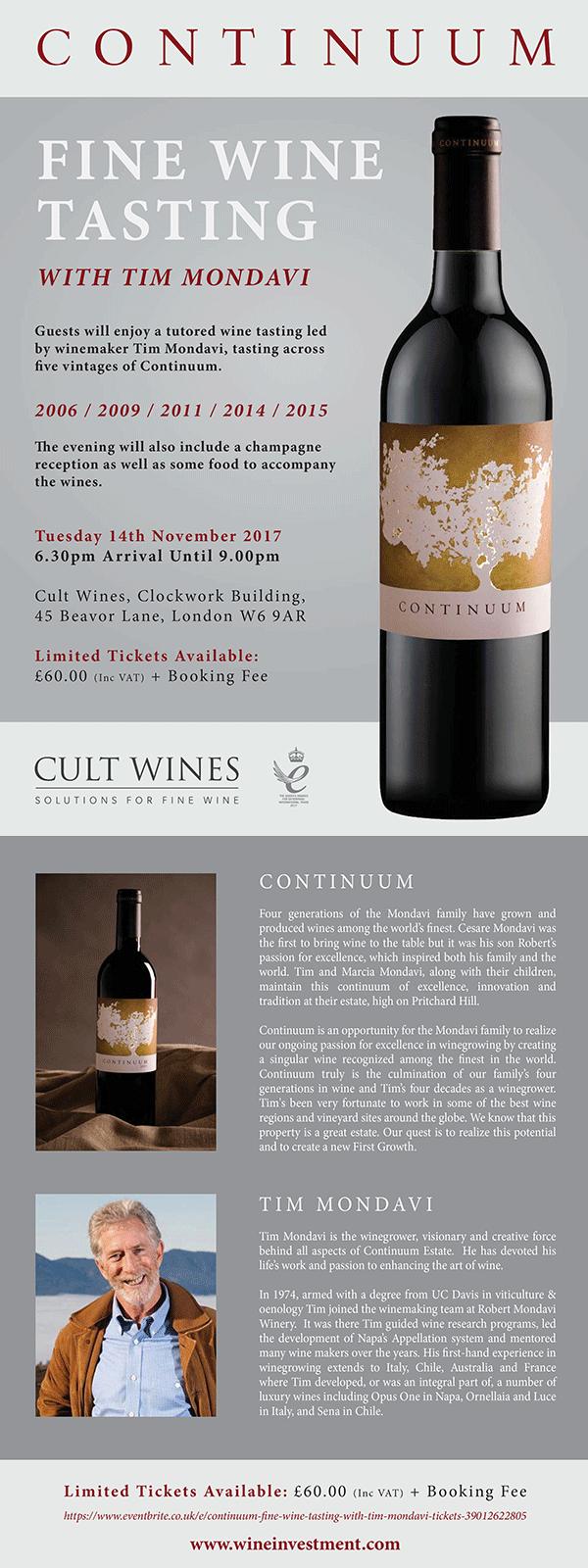 Continuum Fine Wine Tasting with Tim Mondavi