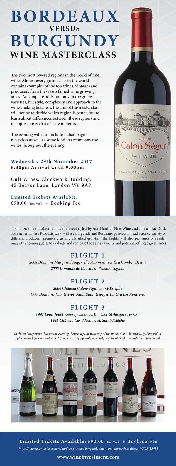 Bordeaux Versus Burgundy Fine Wine Tasting
